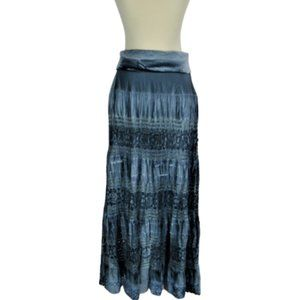 BOHO Water-Color Maxi Skirt Layered w/Lace Sz Lg